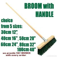 Sweeping Brush HEAD with HANDLE Stiff Bristle Outdoor Broom Garden Sweeper GREEN