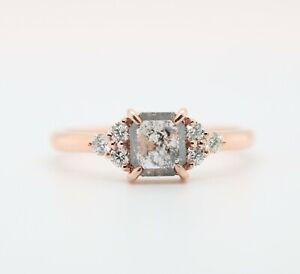 14K Rose Gold Ring Asscher Cut Salt and Pepper Natural Loose Diamond