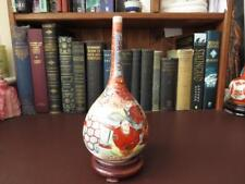 19th c Meiji Period Japanese Satsuma Ware Single Gourd Bottle Vase