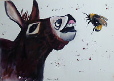 """Fridge Magnet,Silly Donkey  & a bumble Bee large  4.25"""" by 5.5"""""""