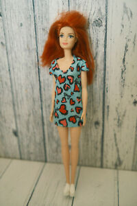 BARBIE BASIC DOLL RED HAIR WITH BLUE HEARTS DRESS