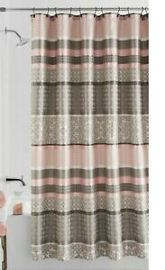 Princeton Jacquard Multi Stripe Fabric Shower Curtain Damask Blush Taupe Bath