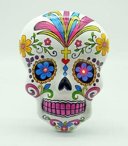 Colorful White Day of the Dead Wall Plaque, Mask!