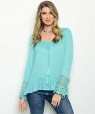 New Entro Boho Peasant Aqua Crochet Tassel Tie Western Tunic Blouse Large