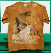 Vintage The Mountain Lion Theme T-Shirt Shirt Tan 100% Cotton L