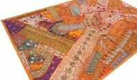 Tenture indienne Orange Dessus de table Tapis mural Patchwork fait main Inde O1