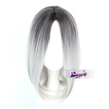 35CM Black Mixed Silver White Wavy Hair Lolita Women Harajuku Anime Cosplay Wig