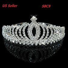 Silver Princess Bridal Crystal Wedding Hair Tiara Crown Prom Veil Headband S8C9