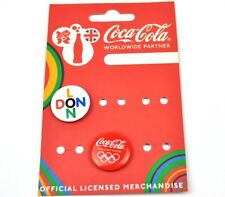 Coca-Cola Coke England 2 Pins London Olympics Buttons Badges