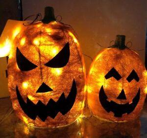 "Jack-o-lantern Sisal Halloween Pumpkin Set 17"" &  12-1/2"" LED Lighted Porch Yard"