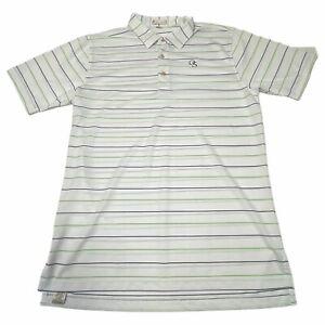 Peter Millar Summer Comfort Polo Golf Shirt Men's XL Green White Striped Stretch