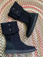 UGG Classic Cardy Button Women's 8 EU 39 Black Cable Knit Tall Winter Boots 5819