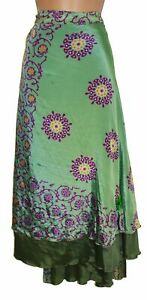 New Fair Trade Sari Silk Wrap Skirt 22 24 26 28 30 PLUS SIZE Boho Hippie Summer