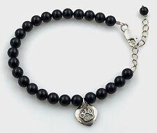 "ESTATE .925 Sterling Silver & Onyx, Beaded Bracelet & Heart Paw Charm 7""- 8.25"""