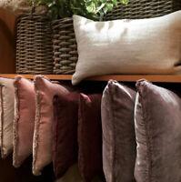 Pottery Barn Velvet Fringe Pillow Cover Dark Thistle 22 sq New