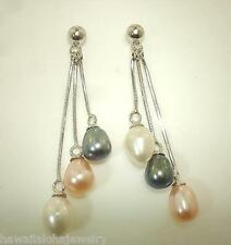 6mm Tri-Color Cultured Freshwater Pearls Sterling Silver Octagon Dangle Earrings