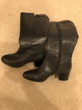 Ladies Leather Geox Knee Length Black Boots Size 41