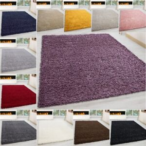 Shaggy Rug Soft Living Room Bedroom Carpet  Plain fluffy Rugs Non Shed Pile