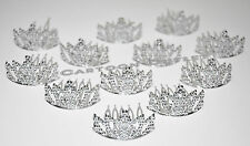 12 MINI PLASTIC PRINCESS QUEEN TIARA CROWN PARTY FAVORS CUPCAKE TOPPERS SILVER