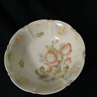 """Antique Hand Painted Serving Bowl 10 & 5/8"""" across 2 & 3/4"""" tall Roses & Floral"""