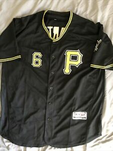 Majestic Flex Base Pittsburgh Pirates Starling Marte #6 Jersey Stitched Size 48
