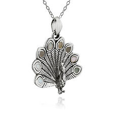 Peacock Pendant with Genuine Mother of Pearl - 925 Sterling Silver - Feathers
