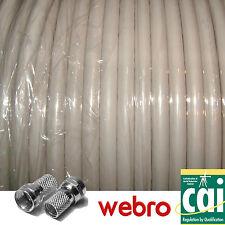 5m Webro Satellite TV Coaxial Cable + 2 F Connectors + F Coupler WHITE