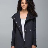 Lululemon Womens SZ 4 Gratitude Wrap Jacket Gray Stretch French Terry Thumbhole