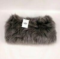 UGG Australia Varsity Sheepskin Snood Grey Mohair Real Fur Scarf Wool NWT $275