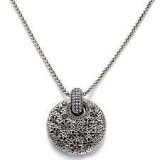 "Large and Unique Purple Austrian Crystal Pendant w/36-39"" Chain in Silvertone"