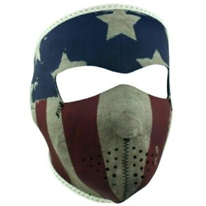 Zan Headgear Distressed Faded USA Flag Motorcycle Ski Full Face Neoprene Mask