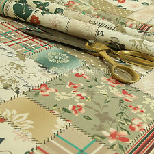 Patchwork Design Upholstery Fabric Pattern Beige Green Striped Floral Inspired
