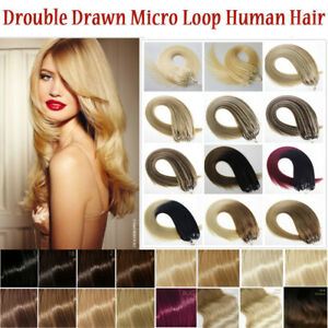 """14""""-22"""" Double Drawn Micro Beads Ring Loop Human Remy Hair Extensions 1g UK"""