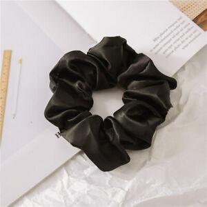 1 Pcs Women Black Satin Silk Hair Ring Girl Elastic Ponytail Holder Hair Rope