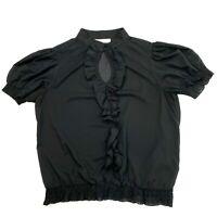Portmans Women's Size 14 Black Short Puff Sleeve High Button Ruffle Chiffon Top
