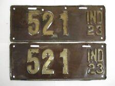 PAIR 1923 Indiana THREE DIGIT  License Plate Tag