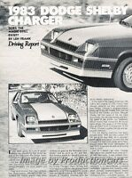 1983 Dodge Shelby Charger Original Car Review Print Article J737