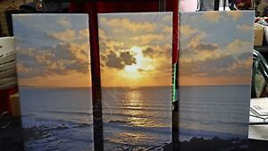 Bude Sunset Cornwall 3 Split Panel Photo Canvas 16 x 24 inches (UK)