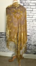 Vintage Crush Gold Velvet on Silk Fringe Scarf