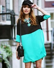Topshop by Love Black and Green Contrast Smock Dress UK 8 EURO 36 US 4 BNWT