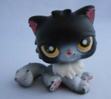 Littlest Pet Shop Halloween Black & White Persian Tuxedo Cat #435 Lps Long Hair