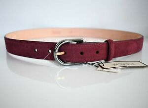 $155 NEW THOMAS PINK Red SUEDE LEATHER Men's Belt 34/85 ITALY