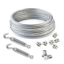 [ 3 - 8 mm ] Drahtseil SET ab 5 Meter Seile + Kauschen, Klemmen, Spannschrauben