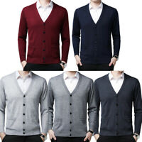 Mens Slim Fit Knitted Sweater Cardigan Argyle Diamond Long Sleeve V-Neck Jumper