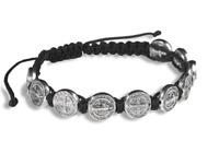 Black Saint Benedict Silver Tone Bracelet Pulsera Negra San De Benito 10 Medals