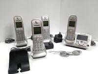 Panasonic KX-TG4134 DECT 6.0 Plus Answering Machine 3 Base 4 Phone Lot Silver