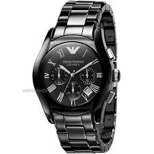 NEW EMPORIO ARMANI AR1400 BLACK CERAMIC CHRONOGRAPH MEN'S WATCH - SILVER 1400