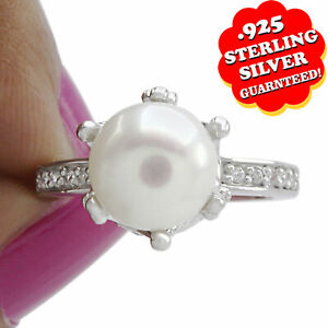 2.75 Ct Round Pearl 14K White Gold Over Sterling Silver Crown Ring