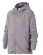 67895d344c09 Boy s Nike Dri-fit Gray Logo Zip up Hoodie Hooded Sweatshirt Size Small