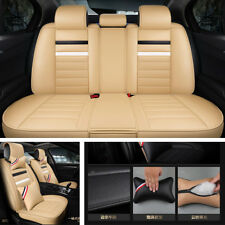 5-Seats Deluxe Edition PU Leather Car Seat Cover Cushion Front+Rear Pillows New